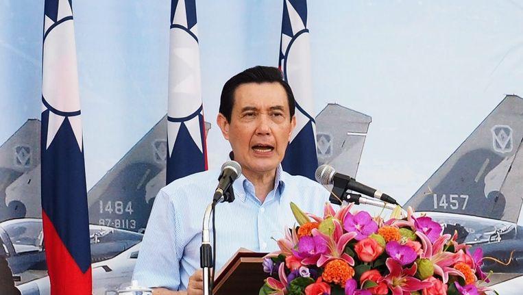 President Ma Ying-jeou van Taiwan ontmoet zijn Chinese collega zaterdag in Singapore. Beeld epa