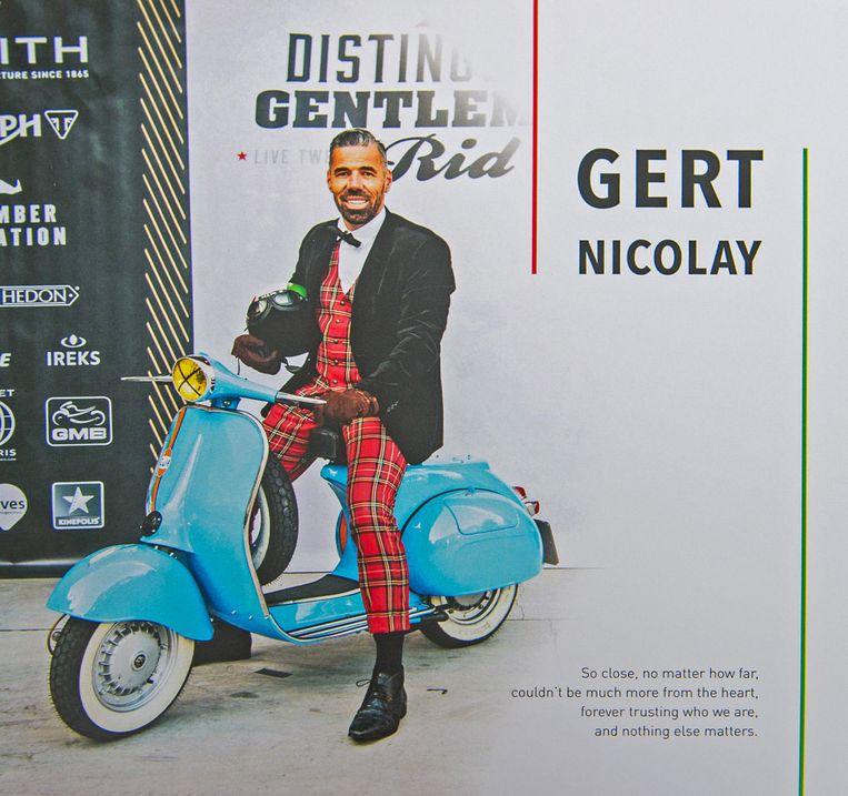 Ook op het gedachtenisprentje van motard Gert Nicolay ontbrak zijn grote passie niet.
