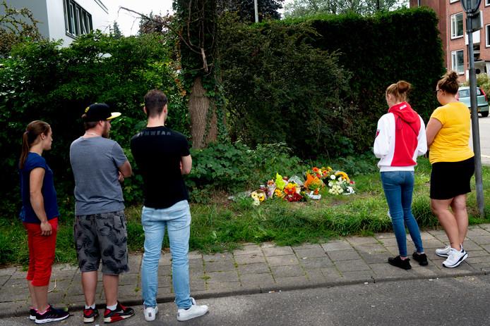 In de berm van de Kayersdijk in Apeldoorn-Zuid zijn bloemen neergelegd na het overlijden van Mike (26).