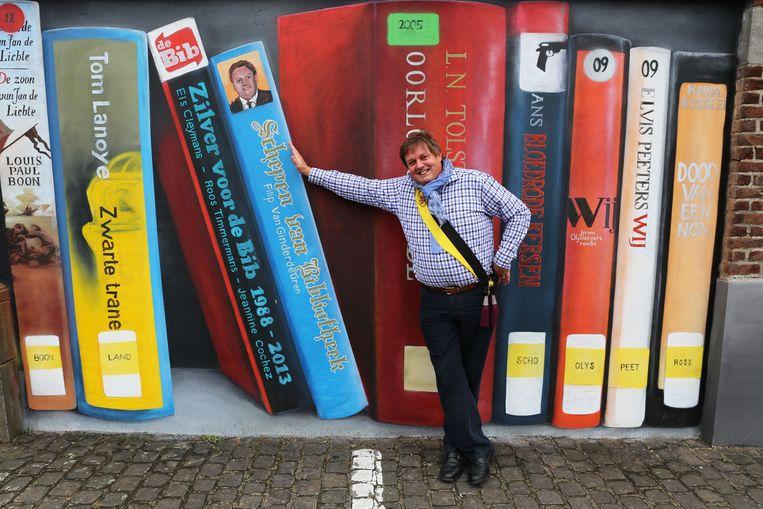 Filip Van Ginderdeuren werd ook op de bibliotheekmuur vereeuwigd.