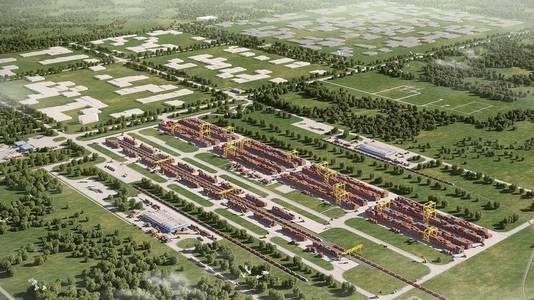 Een conceptbeeld van hoe Khorgos Gateway er moet uitzien.