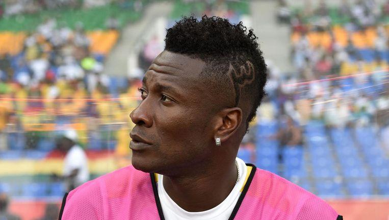 Asamoah Gyan tijdens de Africa Cup 2017 Beeld AFP