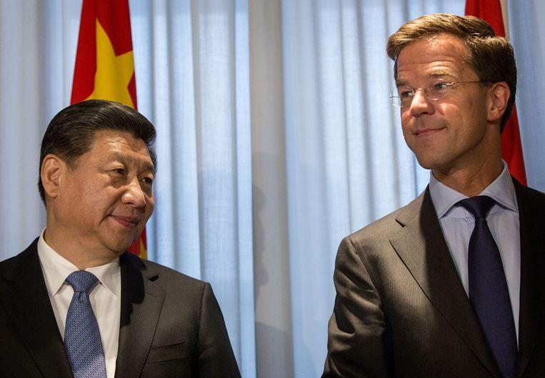 De Chinese president Xi Jinping ontmoette in maart vorig jaar premier Rutte bij de top over nucleaire veiligheid in Den Haag. Beeld ANP