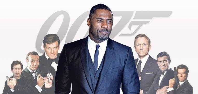 Idris Elba tussen verschillende Bond-vertolkers. Beeld de Volkskrant