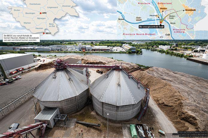 De centrale in Katwijk wordt met biomassa (snoeiafval) gestookt.