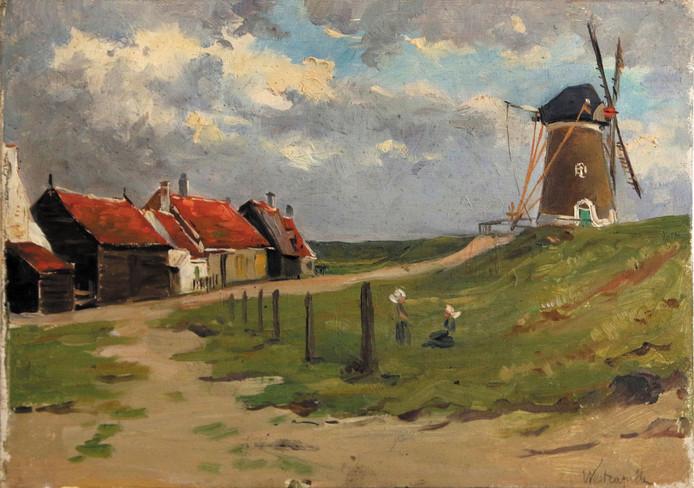 Albert Depré: Westkapelle, molen Prins Hendrik op de zeedijk. Olieverf op paneel