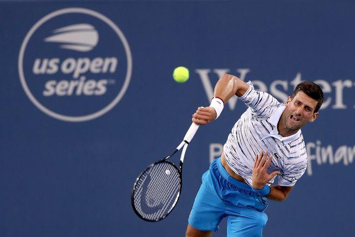 Novak Djokovic in actie.