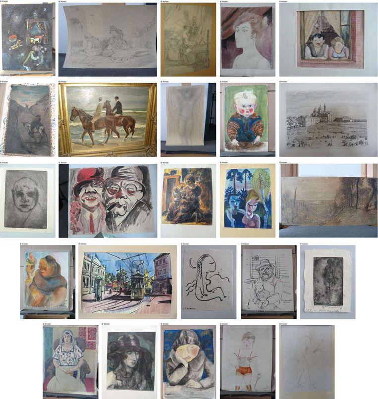 Een aantal werken uit de collectie van Cornelius Gurlitt. Deze selectie bestaat uit onder meer werken van Marc Chagall, Auguste Rodin en Max Liebermann. Beeld AFP