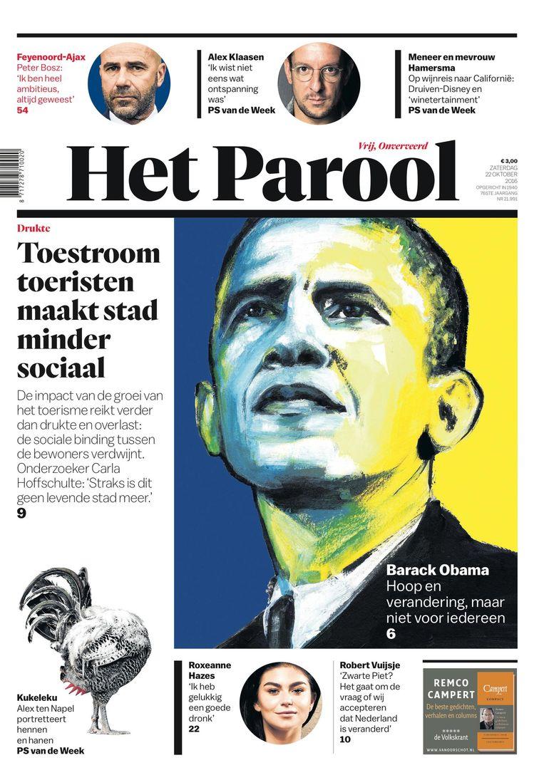 De voorpagina van Het Parool op 22 oktober 2016. Beeld European Newspaper Award