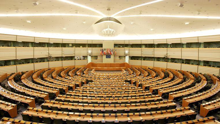 De vergaderzaal van het Europees Parlement Beeld null