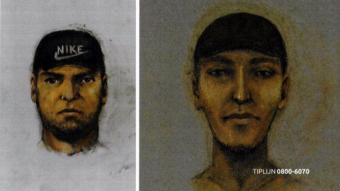 De compositietekeningen van de twee verdachten van de overval in Bosschenhoofd.