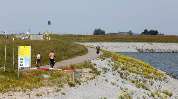 De in 2015 aangelegde zeedijk bij Perkpolder.