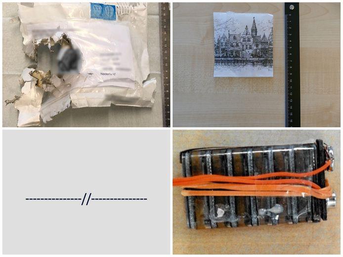 De afperser verstuurde de bombrieven in een witte envelop (linksboven) met daarin een papieren souvenirzakje (rechtsboven) en een deels uit elkaar gehaalde batterij (rechtsonder). Ook ondertekende de dader de brieven met een rij horizontale en schuine streepjes.