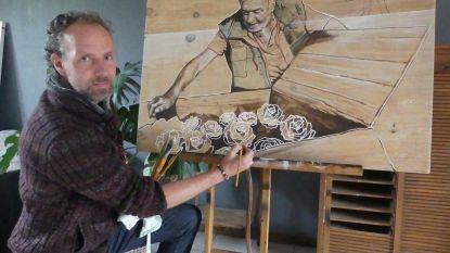 """Kunstenaar Jesse Van Gompel vereeuwigt overleden acteur Fernand Neerman in schilderij: """"Het moeilijkste werk dat ik ooit gemaakt hebt"""""""