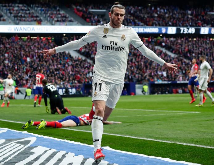 Gareth Bale viert zijn goal tegen Atlético Madrid (1-3) afgelopen zaterdag.