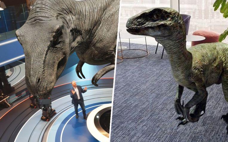 Dany Verstraeten kwam oog in oog te staan met een Tyrannosaurus rex in de VTM NIEUWS-studio.