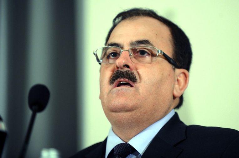 Salim Idris tijdens een persconferentie in Istanbul op 24 augustus. Beeld afp