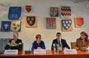 Lute Nieuwerth (politie), Miranda de Vries (burgemeester) en John Lucas (officier van justitie) tijdens de persconferentie.