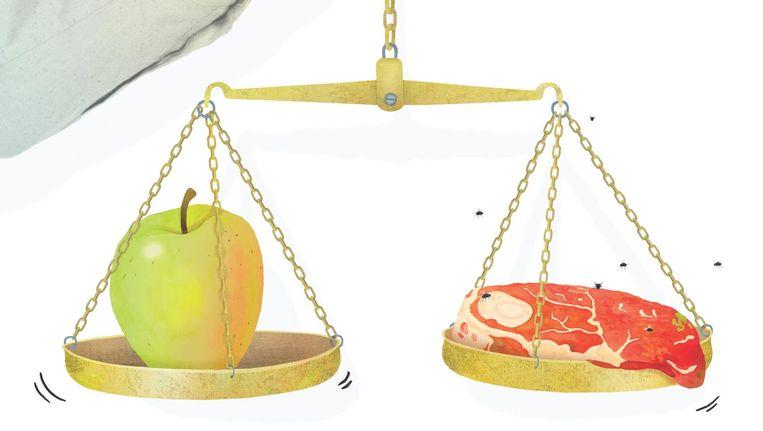 'Normaal gesproken werkt politieke verslaggeving zo: je hebt appels en peren, ze zijn verschillend, maar allebei fruit. Deze verkiezingen hebben we te maken met een appel en ranzig vlees.' Jacob Weisberg, CEO van Slate Media Group op CNN. Beeld Gees Voorhees