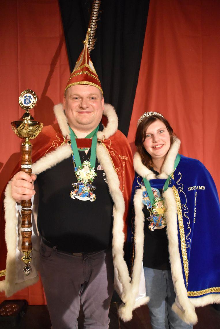 Prins Carnaval Merelbeke 2020 Davy Sleeuwaert en zijn adjudant Eliene De Vuyst.