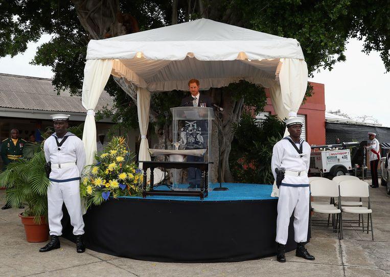 Prins Harry tijdens zijn  bezoek aan Barbados in 2016.