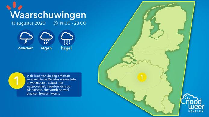 Waarschuwingskaart onweer op 13 augustus.
