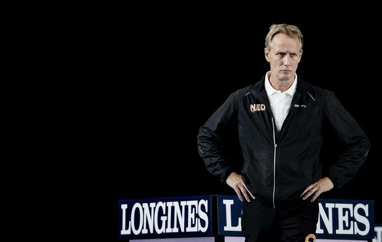 Turncoach Vincent Wevers op het WK turnen.  Beeld ANP