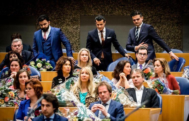Kuzu, Öztürk en Azarkan gingen al snel toch weer zitten. Beeld ANP