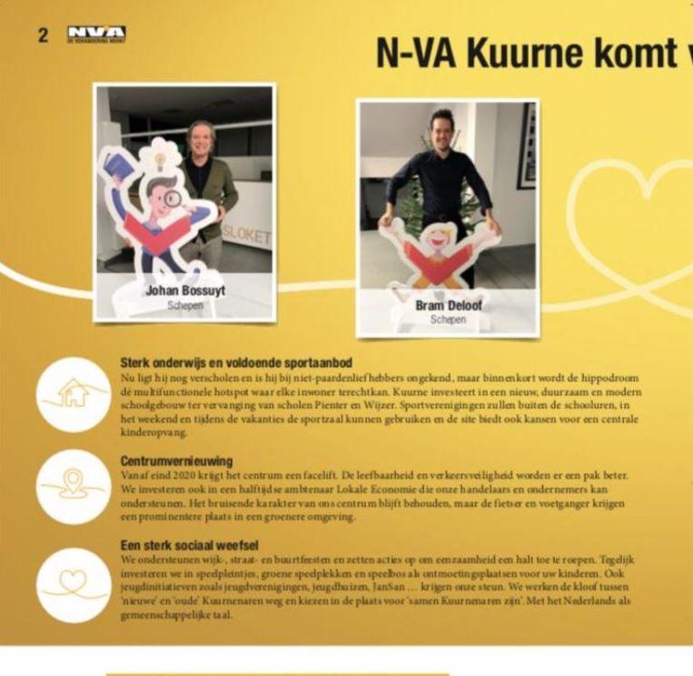 N-VA Kuurne gebruikte in zijn partijblaadje de mascottes die de gemeente Kuurne liet ontwerpen voor de voorstelling van het meerjarenplan, en dat kan niet, vindt raadslid Geert Veldeman (Nieuw Kuurne).