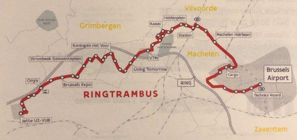 De trambus rijdt tussen UZ Jette en de luchthaven.