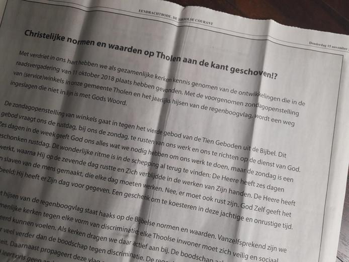 Cda Tholen Voelt Zich Aangesproken Maar Kan Niets Met De Oproep Van