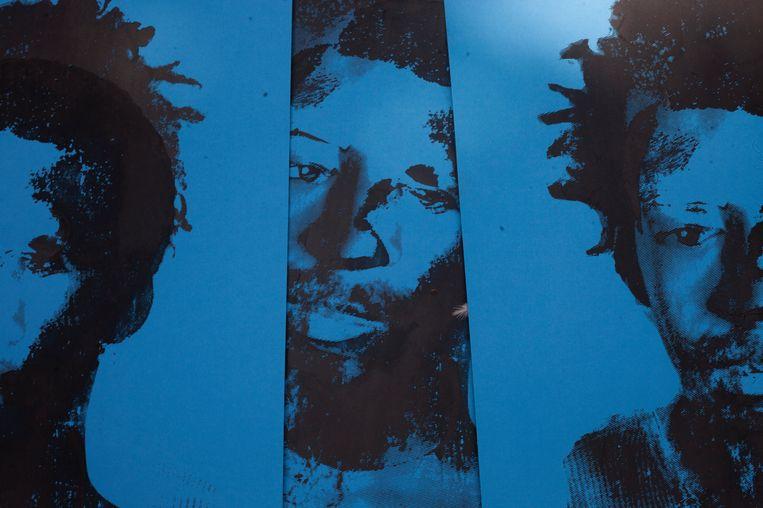 Werk uit zijn meest recente serie Fixing shadows; Julius andI. Beeld Eric Gyamfi