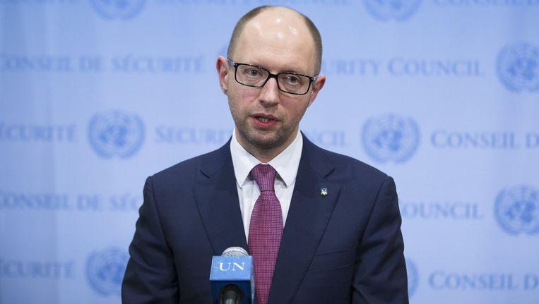 De Oekraïense premier Arseni Jatsenjoek vandaag bij de VN-Veiligheidsraad. Beeld ap