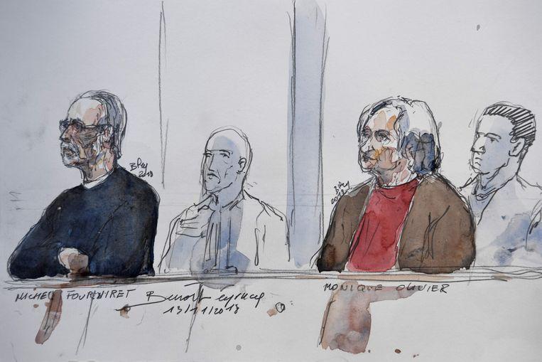 Michel Fourniret (L) en Monique Olivier (R) in de rechtbank vandaag.