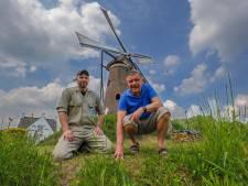 Molen De Roosdonck in Nuenen in zwaar weer; de staart is rot