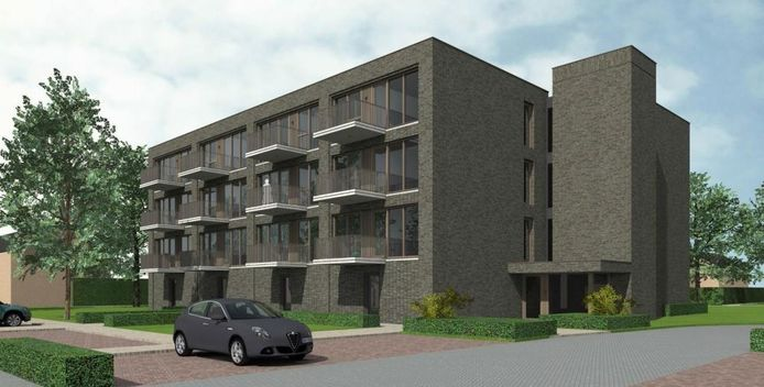 Beeld van het appartementencomplex dat op de plek van basisschool De Beemden in de Boxtelse wijk Oost wordt gebouwd.