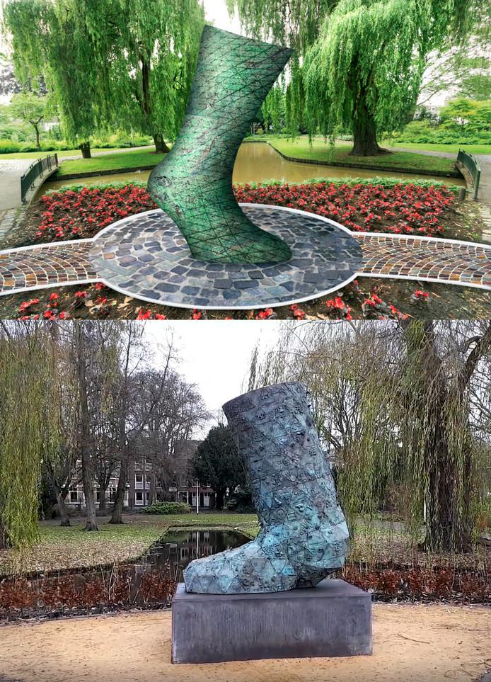 Ouwe Sok in het Emile van Loonpark, het kunstwerk voor Roosendaal 750 jaar