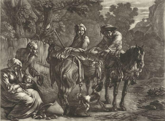 Overval door struikrovers, Jan van Huchtenburg, 1657 - 1733. Zo moeten de Swartmaakers ook te werk zijn gegaan.