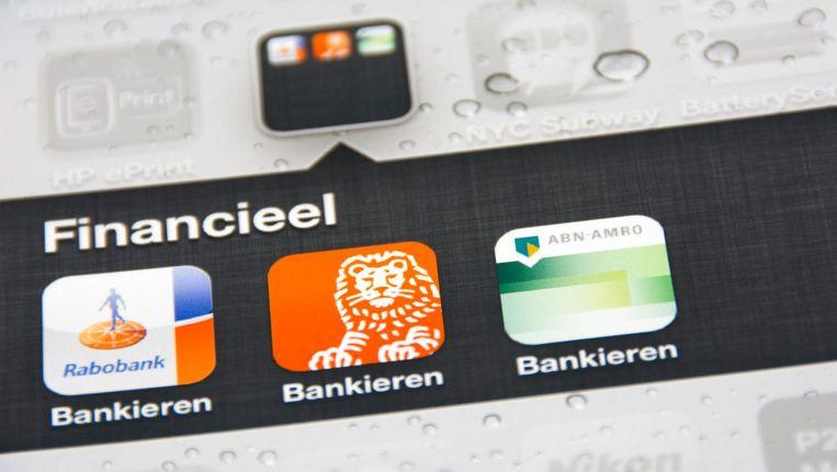 App-icoontjes voor mobiel bankieren. Beeld anp