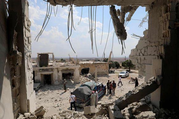 Ruïnes in de stad Al-Habit, in het zuiden van de provincie Idlib.