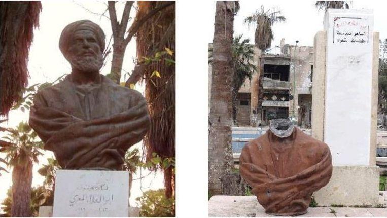 Het beeld van al-Maari vóór en na de beeldenstorm. Beeld