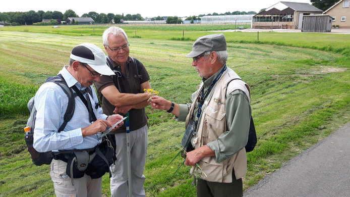 Wim van der Ven, Jacques Rovers en Gerrit Welgraven noteren een bloemetje in de app.