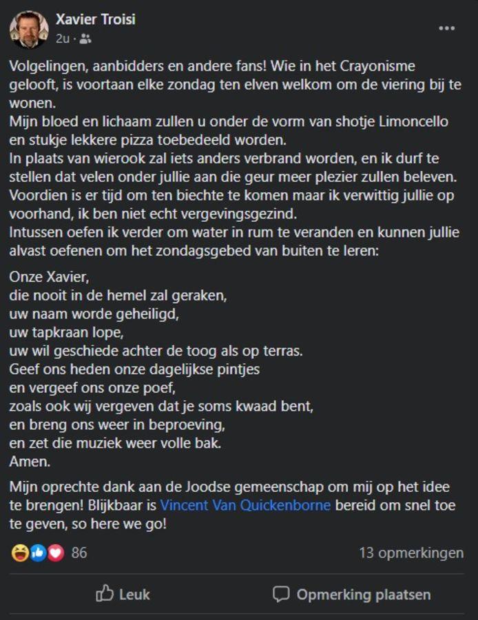 Met deze ludieke post op Facebook klaagt Xavier Troisi van café Crayon een mogelijke versoepeling van de coronaregels voor geloofsgemeenschappen aan.