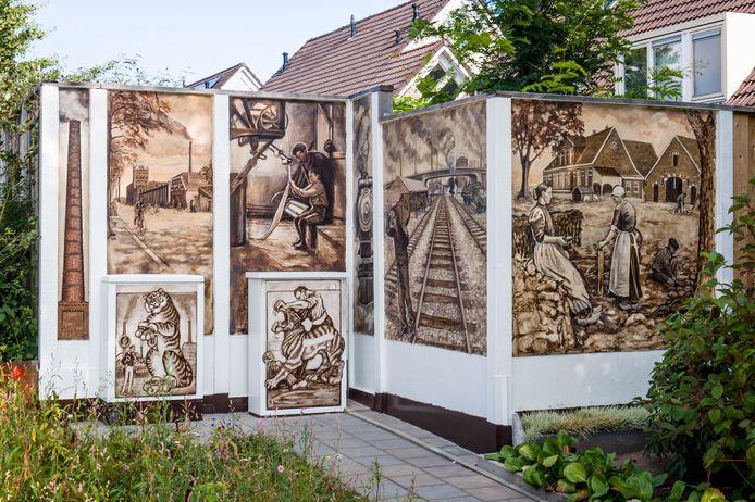De muurschildering ter ere van de verdwenen Zuiderspoorlijn.