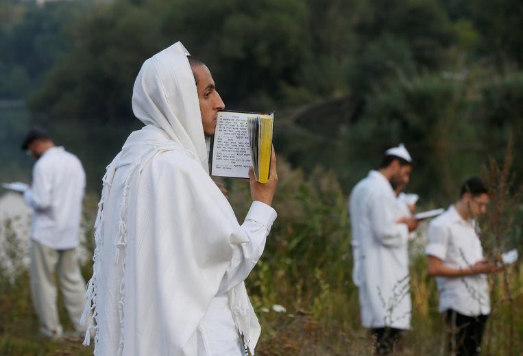 Pelgrims bidden bij het graf van rabbijn Nachman in Oeman. Beeld REUTERS