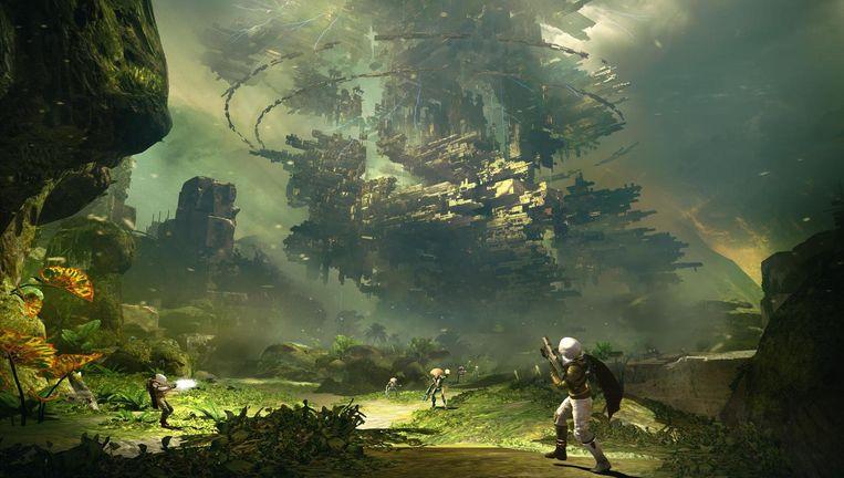 Schets door Jesse van Dijk van de Citadel, een zwevende stad op Venus, bevolkt door aliens. Dit originele ontwerp voor de game Destiny was 'technisch' te zwaar door de vele losse componenten. De definitieve versie bestaat uit minder fragmenten. Beeld Jesse van Dijk