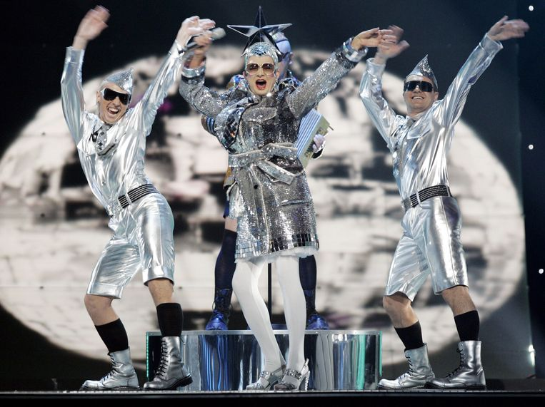 De Oekraïense Verka Serduchka: 'Dancing Lasha Tumbai' in 2007. Beeld AFP