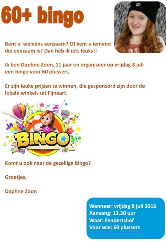 De uitnodiging voor de bingo van Daphne Zoon.