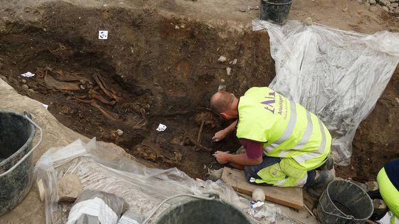Archeologen onderzoeken de gevonden paardenbeenderen uit de Vikingtijd.