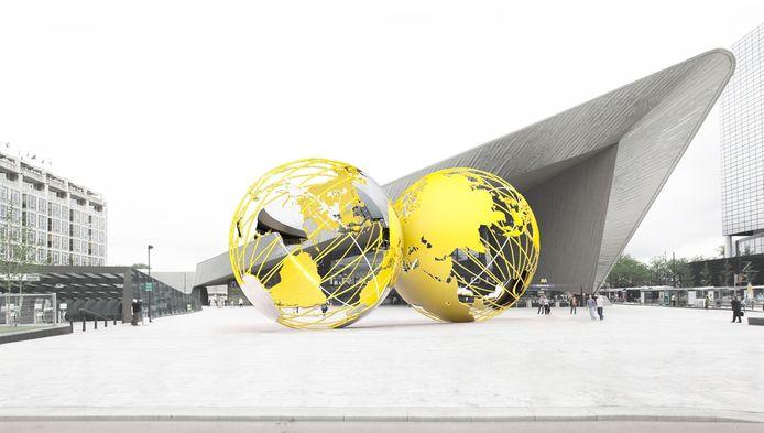 Het kunstwerk Kissing Earth dat vanaf het najaar 2015 op het plein voor Centraal Station staat.